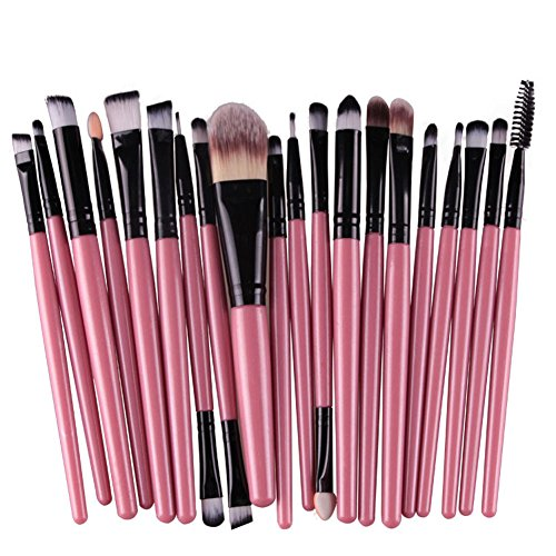 KOLIGHT Set of 20pcs Cosmetic Makeup Brushes Set Powder Foundation Eyeliner Eyeshadow Lip Brush for Beautiful Female (Pink+Black)