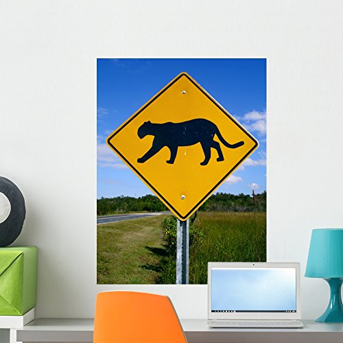 Wallmonkeys Panther-Crossing Road Sign in Florida Wall Decal Peel and Stick Graphic WM81580 (24 in H x 18 in W) (Panther Crossing)