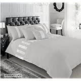 SUPERIOR COTTON DIAMANTE SEQUENCE LACE KING DUVET QUILT COVER BEDDING SET SILVER by Signature Gaveno Cavailia
