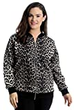 Nouvelle Collection. Womens Plus Size Bomber Jacket Ladies Animal Leopard Print Ribbed Cuffs Hem Zip Closure Coat Brown US Size 16