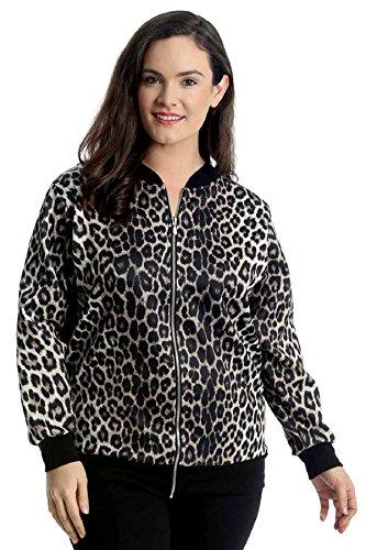 Nouvelle Collection. Womens Plus Size Bomber Jacket Ladies Animal Leopard Print Ribbed Cuffs Hem Zip Closure Coat Brown US Size - Print Zip Jacket Animal