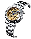 GuTe Women Automatic Watch,Minimalist Steampunk Gold-Tone Movt Stainless Steel Bracelet Watch