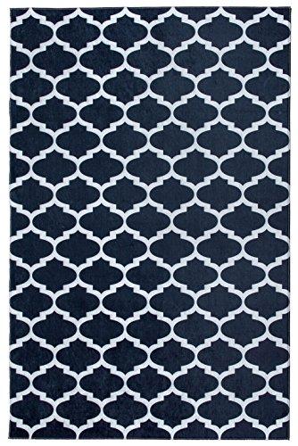 Mylife Rugs Contemporary Morroccan Trellis Design Non Slip (Non-Skid) Machine Washable Area Rug (3'x5′, Black – White)