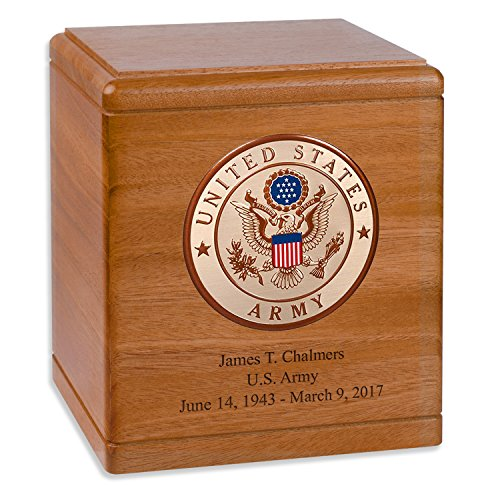 Mahogany Wood Military Cremation Urn for the Army Veteran with Custom Inscription - Personalized Wooden Funeral Urns Made in the USA (more options available)