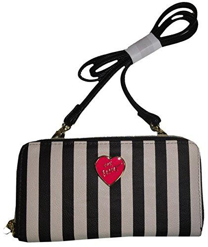 Betsey Johnson Women's Zip Around *Wallet on a String*, White/Black