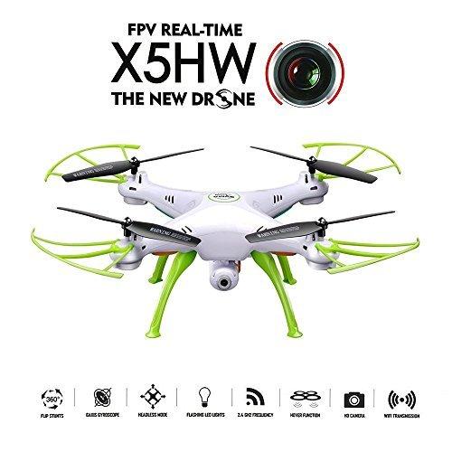 GoolRC Syma x5hw WiFi FPV Drone 2.0MP cámara HD RC Quadcopter con 360° Eversion Headless Modo alta Hold Modo Función, Blanco