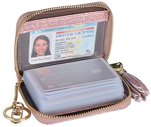 Yuhan Pretty Womens Credit Card Holder Wallet RFID Leather Small ID Card Case (20 Card Slots - Glitter Gold Purple)