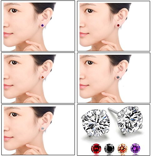RLD Jewelry 18K Gold Plated S925 Silver Brilliant Cut Simulated Diamond CZ Stud Earrings Back to School (5 Pairs in 6mm) by RLD Jewelry (Image #4)'