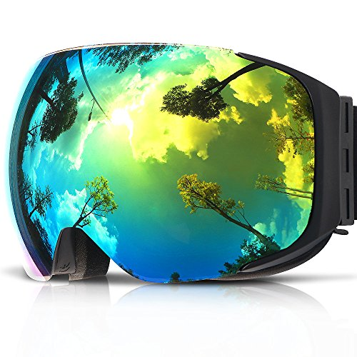 Ski Goggles,COPOZZ G2 Magnetic Ski Snowboard Snow Goggles - Quick Interchangeable Double Lens Anti Fog UV400 Over Glasses OTG Helmet Compatible - For Men Women Youth Unisex skiing snowboarding