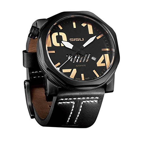 SISU Bravado A6 Swiss Automatic Men's Watch, Black Dial, Leather Strap (Model: BA6-50-LT)