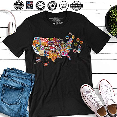 America Favorite Halloween Candy Map Chocolate Bubble Gum Jelly Lollipop Handmade T-Shirt Hoodie/Long Sleeve/Tank Top/Sweatshirt for $<!--$17.95-->