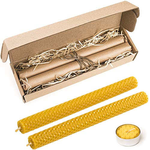 (Mokosha 100% Natural Honey Comb Hand Rolled Beeswax Taper Candles. Dripless,Eco-Friendly, Smoke and Soot Free Tea Candle Gift Box, for a Romantic Dinner or Special Occasions, 10 inch- Set of 2)