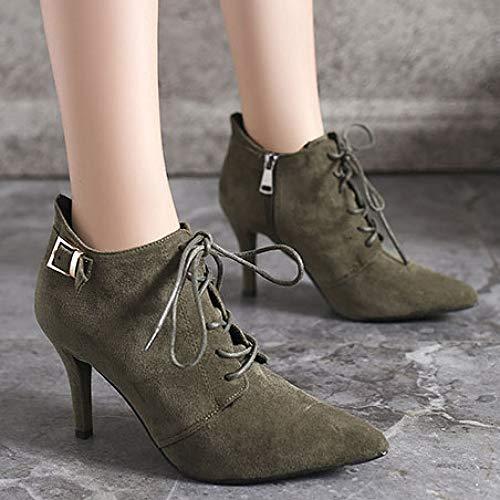 Winter Party Frauen Stiefeletten Prom Boots Schnürschuhe Abend Stiletto Heels Green Reißverschluss Wildleder High Fleece Seitlichem Kleid Futter Spitz rxrw6g0H