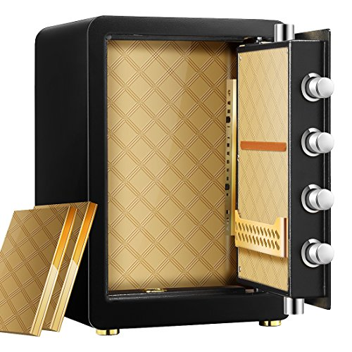 Ainfox Digital Security Safe Box, 2 Cubic FeetCabinets Fingerprint Biometric Wall Safe Lock Box Cash Strongbox with Number Keys Emergency Lock by Ainfox (Image #5)