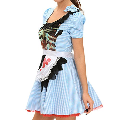 [Elakaka Zombie Kansas Girl Adult Halloween Costume(Size,L)] (Tutu Halloween Costumes For Teenage Girls)