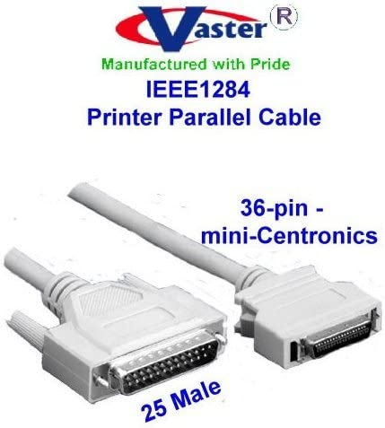 6 ft Premium Parallel IEEE1284 MiniCen36 Male to Male Bi-Directional Cable