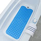 SlipX Solutions Blue Extra Long Bath Mat Adds Non-Slip Traction to Tubs & Showers - 30% Longer than Standard Mats! (200 Suction Cups, 39'' Long - Extended Coverage, Machine Washable)