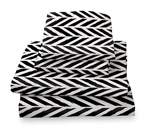 Queen Sheet Set Black and White Herringbone - Microfiber Bedding Set By Where the Polka Dots Roam
