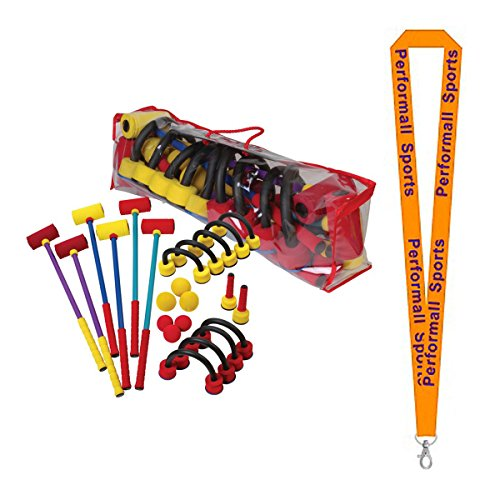 Champion Sports Foam Croquet Set Multi-Colored with 1 Performall Lanyard FCRSET-1P Foam Croquet Set