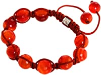 Royal Diamond Shamballa Style Bracelet in Semi-Translucent Red