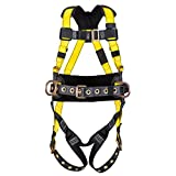 MSA Safety 10077571 Workman Construction Harness with Qwik-Fit Chest Strap Buckle and Tongue Leg Strap Buckle, Back and Hip D-Ring, Shoulder and Lumbar Padding, Standard Size, Yellow