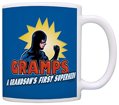 [Fathers Day Gifts for Grandpa Gramps Grandson's First Superhero Comics Gift Coffee Mug Tea Cup Blue] (Easy To Make At Home Superhero Costumes)
