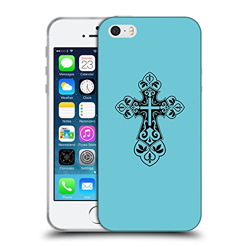 GoGoMobile Coque de Protection TPU Silicone Case pour // Q07820627 Christian Cross 7 Cyan // Apple iPhone 5 5S 5G SE
