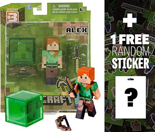 """Overworld Alex ~2.6"""" Minecraft Mini Fully Articulated Action Figure Pack + 1 FREE Official Minecraft Mini-Sticker Sheet Bundle"""