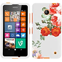 MINITURTLE, Slim Fit Graphic Design Image 2 Piece Snap On Protector Hard Phone Case Cover, Stylus Pen, and Clear Screen Protector Film for Prepaid Windows Smartphone Nokia Lumia 635 from /AT&T, /T Mobile, /MetroPCS (Romanic Flowers)