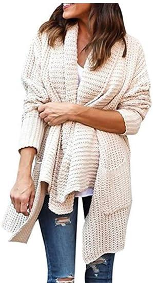 07861ef8def YOGLY Cardigan Femme Long Manches Longues Pull avec Poches Couleur Unie Gilet  Torsadé Chandail Veste en