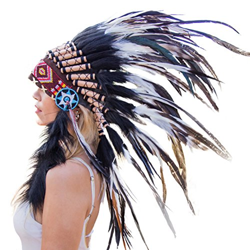 Novum Crafts Feather Headdress | Native American Indian Inspired | Black/white -