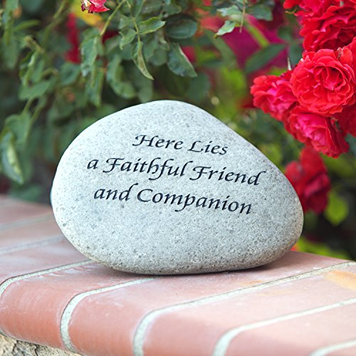 Here lies a Faithful Friend and Companion Memorial Engraved Stone / Inspirational Message Natural Engraved River Stones ()