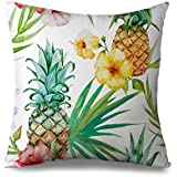 popeven Pineapple Throw Pillow Covers 18 x 18 Inch Sofa Cushion Covers Standard Pillowcase with Zipper Square Canvas Tropical Accent Pillow Cases White