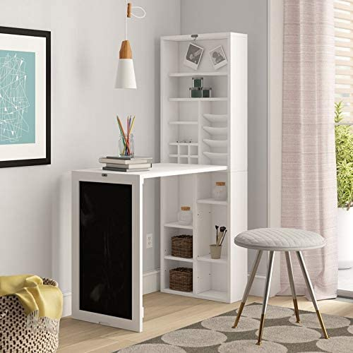 Utopia Alley Collapsible Fold Down Desk Table Wall Cabinet with Chalkboard and Bottom Shelf, White