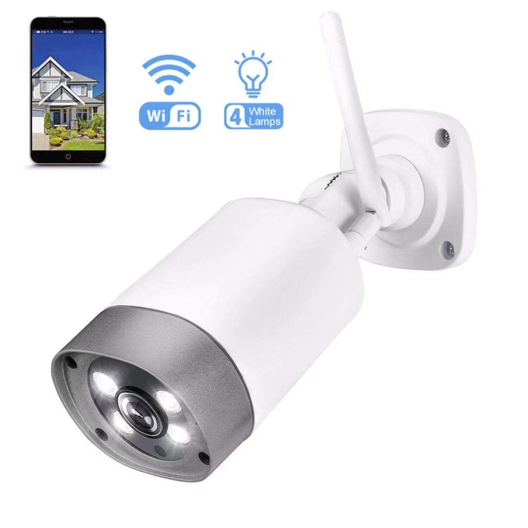 Outdoor Security Camera, Wireless IP66 Waterproof 1080p IP Cam 2.4G Night Vision Surveillance System with 4 Lamps, Two-Way Audio, Motion Detection, Activity Alert, Deterrent Alarm - iOS, Android App by BOOCOSA-US