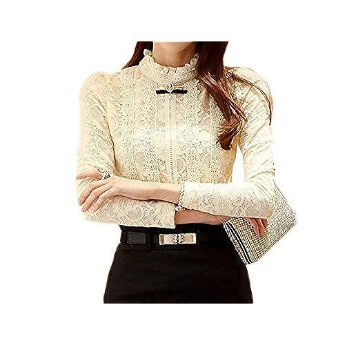 Minetom Mujer Elegante Cordón Blusa Manga Larga Slim Fit Camisas OL Negocio Tops Shirts Beige ES 34