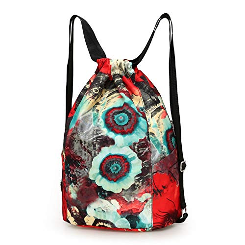 Price comparison product image Nylon waterproof Drawstring Backpacks Women floral printing soft string shoulder pack shoes bag large, Green