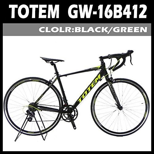 TOTEM ロードバイク 自転車 シマノ14段変速 前後クイックハブ 軽量アルミフレーム 16B412 カラー(グリーン/ブラック)、フレームサイズ(480mm/500mm) 選択可 B07BT6NN1Y700x50cm マッドブラック