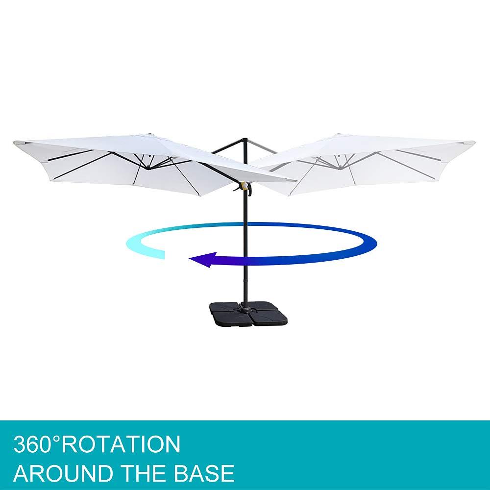 8 Ribs 360/°Rotation Taupe Aluminium Sun Shade UV50/+ Sun Protectio Ziigo Garden Parasol, /Ø 3m Roma Cantilever Parasol Patio Umbrella