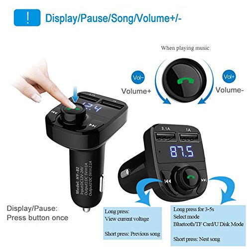 FM Transmitter Wireless Bluetooth FM Transmitter Car Kit Radio Adapter Receiver 4.2A USB Car Charger MP3 Music Player Read Micro SD Card USB Flash Drive and Battery Voltage by JINSERTA (Image #1)