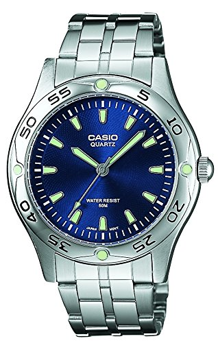 43051eea56e4 Casio MTP1243D2A - Reloj de Caballero metálico Azul  Amazon.es  Relojes