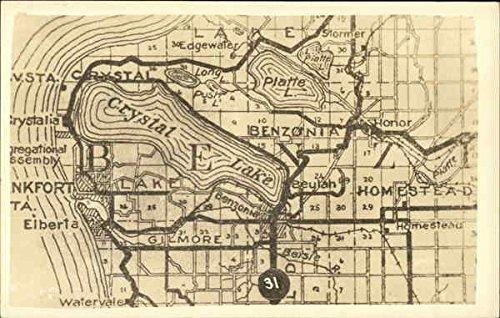 Map of Crystal Lake, MI Maps Original Vintage Postcard ()