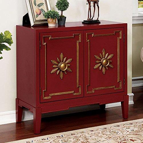 Furniture of America CM-AC304RD Nayeli Red Hallway Drawer Chest