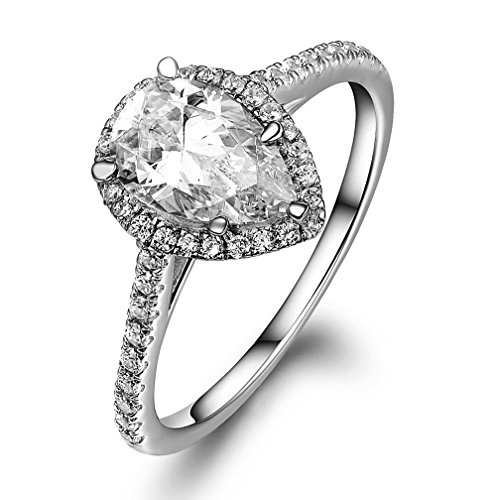 Lourve 14k White Gold Plated 925 Sterling Silver Engagement Ring Pear Cut Soleste CZ Simulated Diamond Pear Soleste (5, cubic-zirconia)