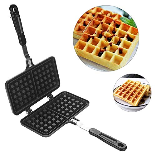 Waffle Iron Large Family, Dual Head Household Kitchen Gas Non-Stick Waffle Maker Pan Mould Mold Press Plate Baking Tool…