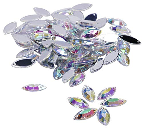 Shapenty 100PCS Horse Eye Shape Crystal Acrylic Sew On Rhinestones Flatback Sewing Beads Stones with Double Holes for DIY Craft Wedding Dress Decoration and Bag Clothing Accessories, 15x7mm (AB)