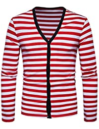 Mens V-neck Stripes Button Down Knitwear Knitted Cardigan Sweater