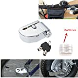 Iztoss 6mm Pin Motorcycle Safety Lock Auto-Arm Scooter Moped Anti Thief Wheel Disc Brake Lock Alarm Security Brakes Rotor Lock Silver