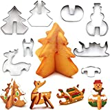 Christmas Cookie Cutter, Kesouli Stainless Steel Cookie Cutter Set 8packs - Christmas Tree, Snowman, Sleigh, Elk for Kids/Party
