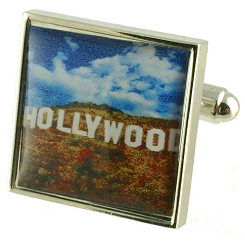 Select Gifts Celeb Hollywood Sign Cufflinks Solid Sterling Silver 925 with Optional Engraved Message -